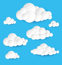 Abstract paper clouds on white background vector