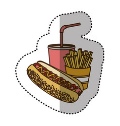 color hot dog soda and fries french icon vector image vector image