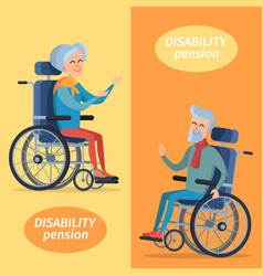 disability pension two pensioners on wheelchairs vector image
