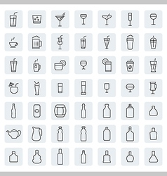 Drink icon set in thin line style vector image