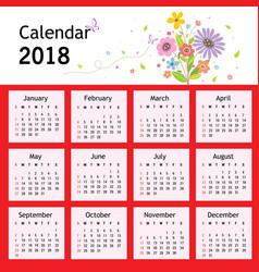 happy new year flower planner calendar 2018 vector image