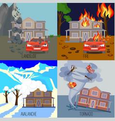 set of natural disasters banners landslide fire vector image