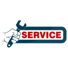 spanner in hand and sign service vector image