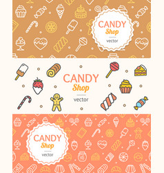 sweets and bakery candy banner flyer horizontal vector image vector image