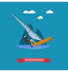 Windsurfer on the board with sail flat design vector image vector image