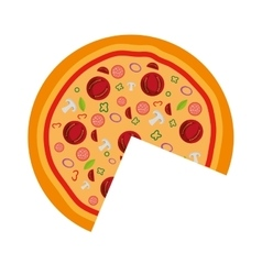 delicious pizza fast food icon vector image