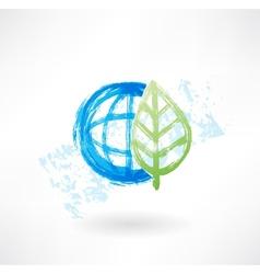 Eco globe grunge icon vector image vector image