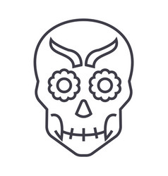mexican skull line icon sign vector image