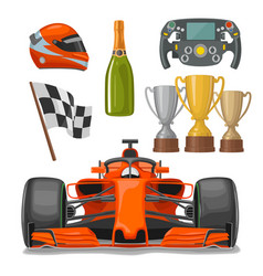 set race flat icons helmet champagne cup flag vector image