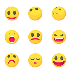 smiley face icons set cartoon style vector image