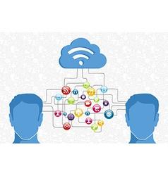 Social media man diagram vector image vector image