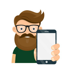 young hipster person holding smartphone vector image