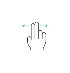 2 finger left and right line icon hand gestures vector image