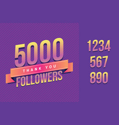 5000 followers thank you for social vector