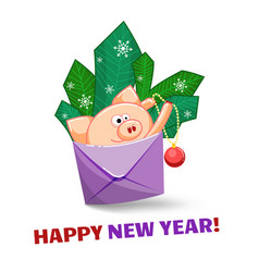A joyful pig jumping out of an envelope to vector