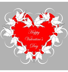 A red heart decorated with flying white doves vector