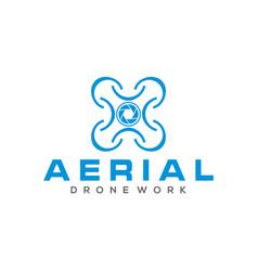 Aerial logo drone modern technology design vector