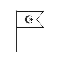 algeria flag icon in black outline flat design vector image