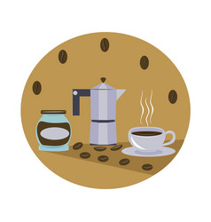 Aromatic coffee in a cup vector