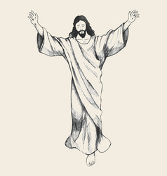 Ascension of jesus christ sketch vector