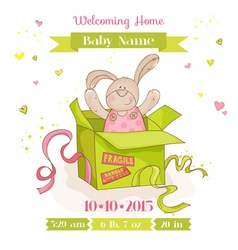 Baby bunny in a box - shower or arrival card vector