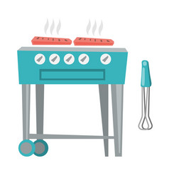 Barbecue gas grill cartoon vector