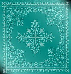 Beautiful vintage floral blue background vector
