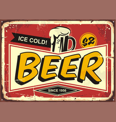 Beer vintage tin sign vector