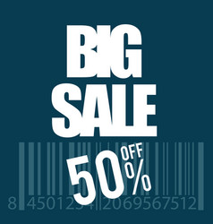 Big sale icon with bar code in white vector