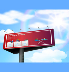 Billboard advertisement poster with laundry servic vector