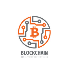 bitcoin block chain logo template design vector image