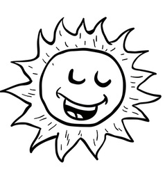 black and white smiling sun vector image