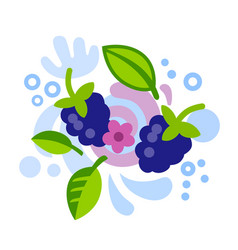 blackberry in abstract manner with splashing water vector image