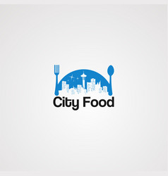 Blue city food logo icon element and template vector