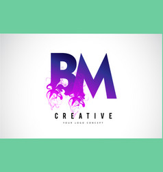 bm b m purple letter logo design with liquid vector image