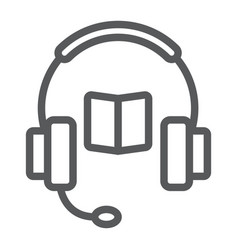 book with headphones line icon e learning vector image