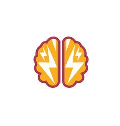 Brain flash thunder logo vector