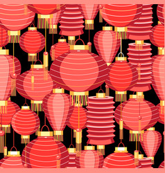 bright pattern with red lanterns vector image
