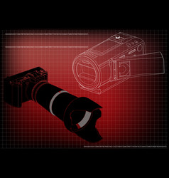 camera on red vector image