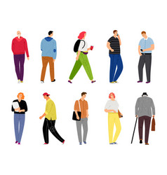 cartoon casual people on white casual dressed vector image