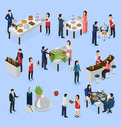 Catering banquet isometric icons vector