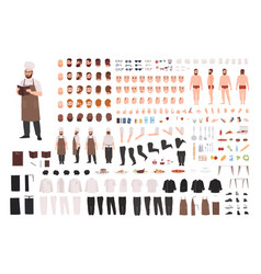 Chef cook or kitchen worker constructor set vector