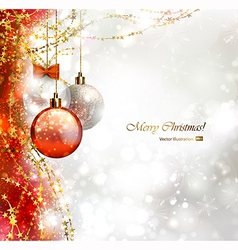 christmas background with three baubles vector image