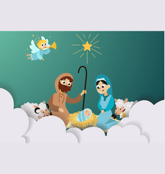 Christmas nativity religious bethlehem crib scene vector