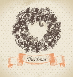 Christmas wreath hand drawn vector