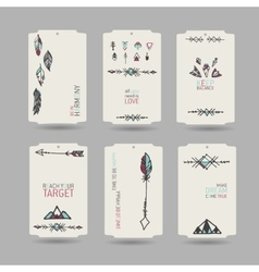 Collection of tribal vintage hang tags vector
