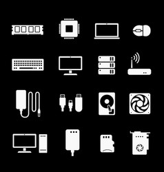 computer components icons hardware processor cpu vector image