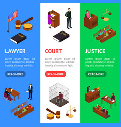 Court session concept banner vecrtical set 3d vector