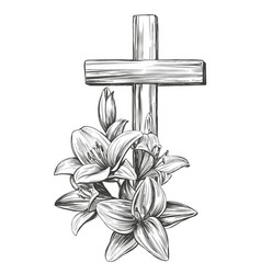 Cross and floral blooming lilies easter symbol vector