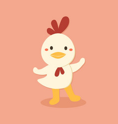 cute chicken cartoon character vector image